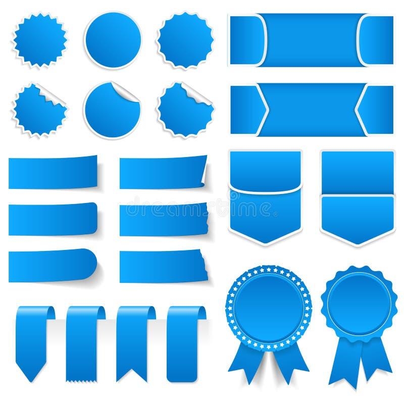 Precios azules, etiquetas engomadas, banderas ilustración del vector