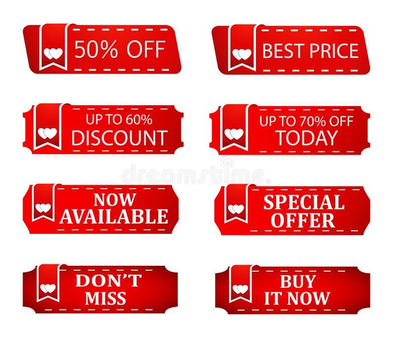 Precios de la bandera de los specials del descuento de la venta, oferta de la tienda, icono caliente para las ventas estacionales libre illustration