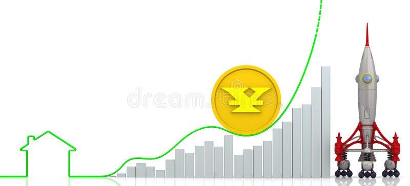 Precios de levantamiento de las propiedades inmobiliarias en yuan chino Concepto libre illustration