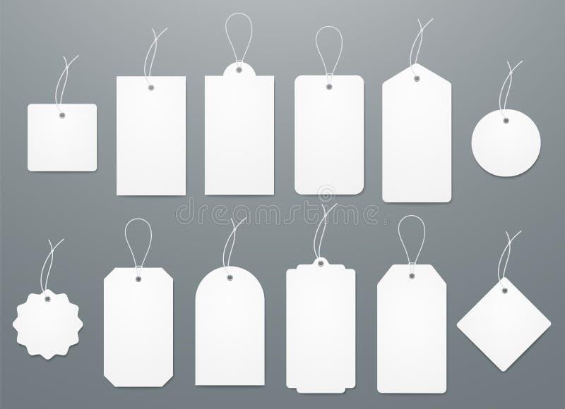 Precios del Libro Blanco del espacio en blanco o etiquetas del regalo en diversas formas stock de ilustración