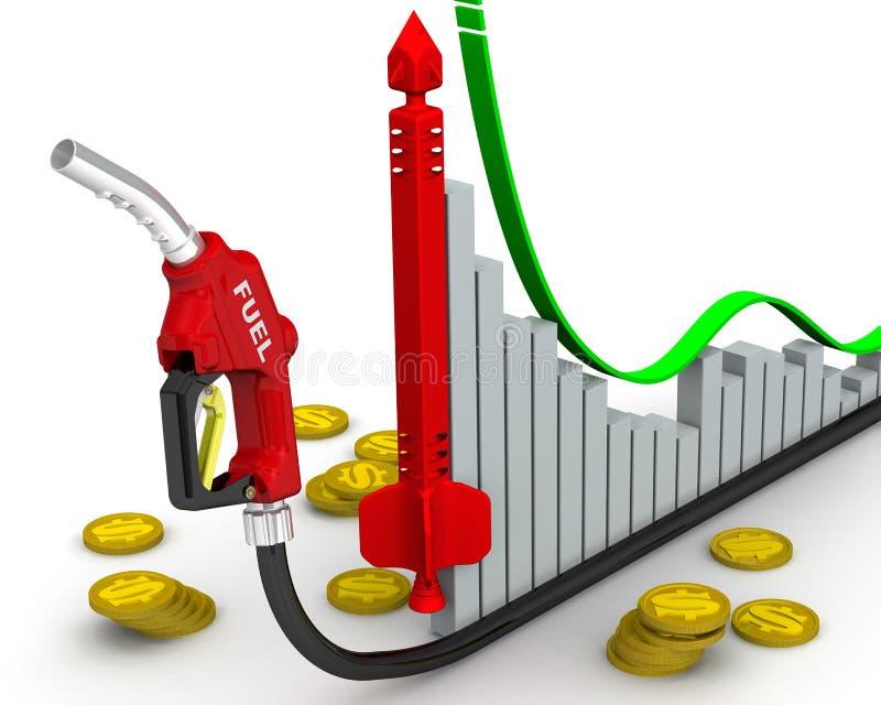 Precios en aumento para el combustible de automóvil stock de ilustración