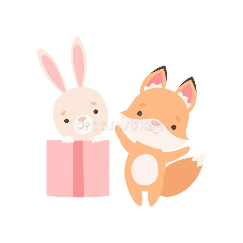Precioso poco Bunny Sitting Inside Gift Box, Fox Cub y conejo son personajes de dibujos animados de los mejores amigos, adorables ilustración del vector