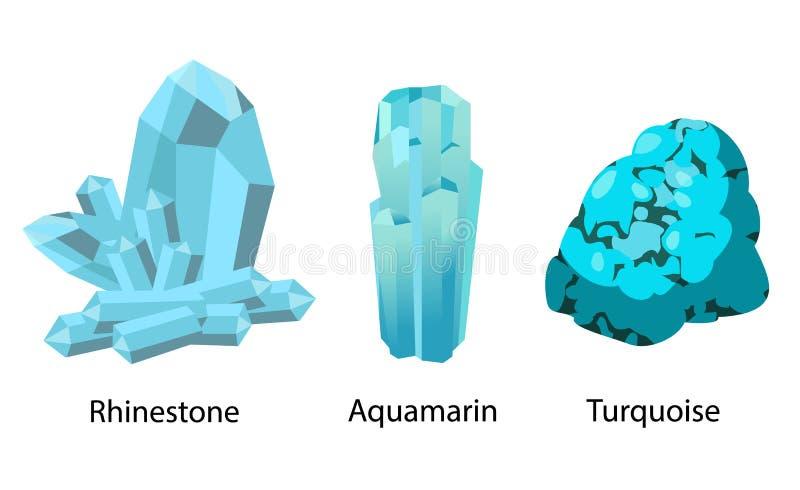 Precioso valioso de turquesa de água-marinha do cristal de rocha ilustração do vetor