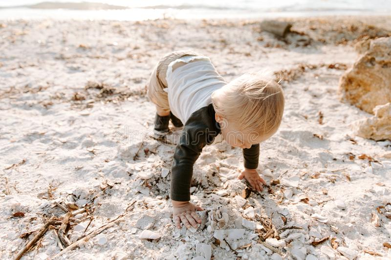 Precious Adorably Cute Happy Baby Boy Toddler Smiling and Playing in the Sand At the Beach Next to the Ocean Water Outside During royalty free stock image