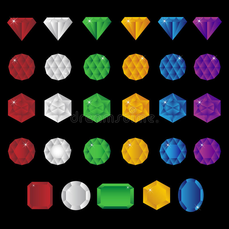 Precious gem stones. Big set of colorful precious gem stones isolated on black background.EPS file available stock illustration