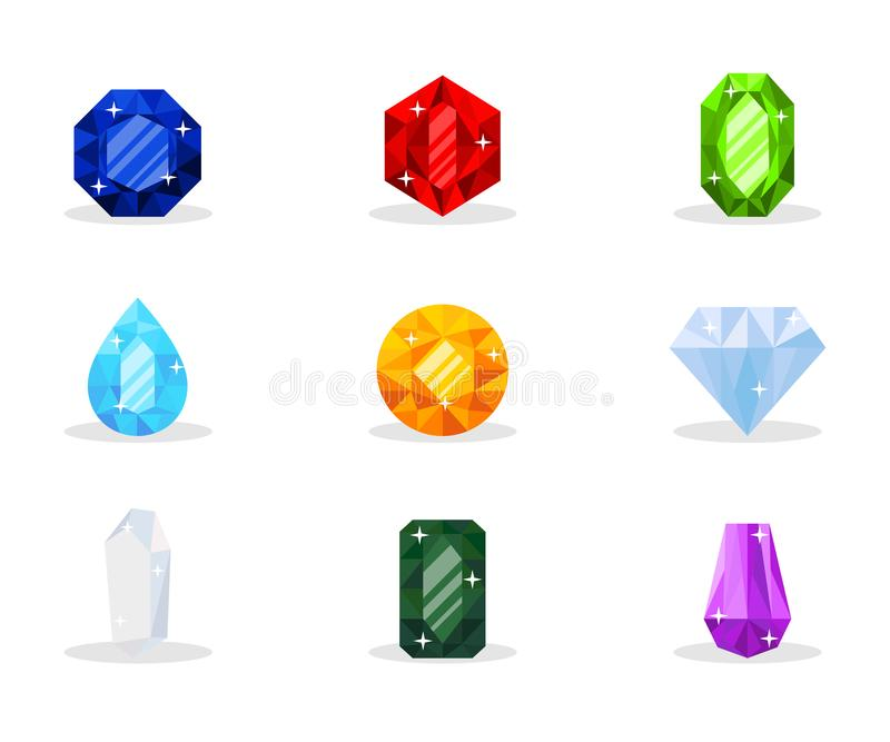 Precious gemstones vector illustration pack isolated on white background. Precious gemstones vector illustration pack. Luxurious gems, glamor jewelry, shiny vector illustration