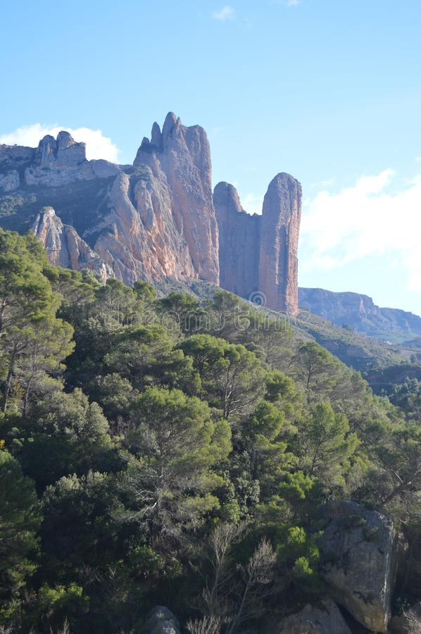 Precious Geological Formations Of The Mallos Of Riglos In Riglos. Landscapes, Nature, Geology. December 28, 2014. Riglos, Huesca, stock photos