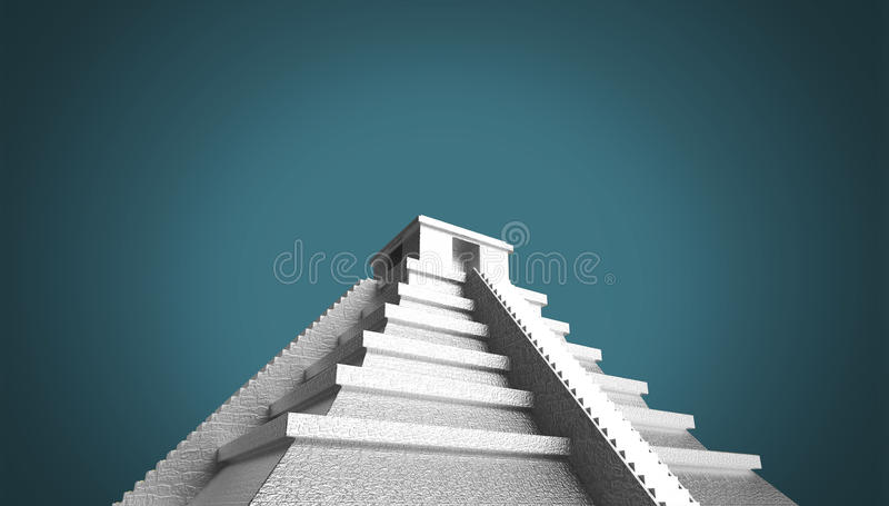 Precious golden metal Mexican Mayan Aztec Pyramid, high quality render isolated. royalty free illustration