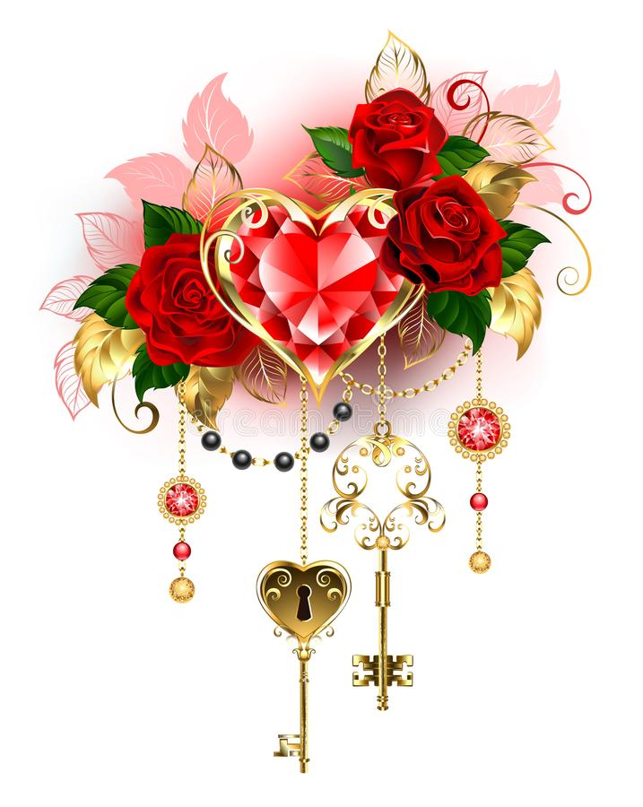 Ruby heart with red roses. Precious ruby heart decorated with red roses, gold chains, antique key on a white background. Ruby heart vector illustration
