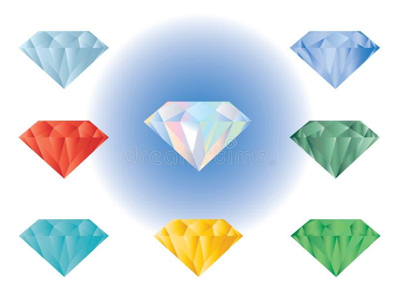 Precious stones color vector illustration stock illustration