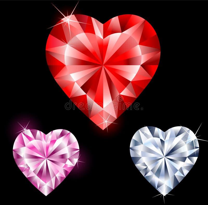 Precious stones in heart shape. Precious stones: ruby, diamond, pink diamond, faceted heart-shaped royalty free illustration