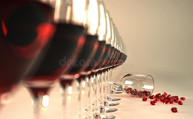 Precious wine. Row of red wine glasses, with one of them felt down on floor, with many ruby stones coming out of it vector illustration