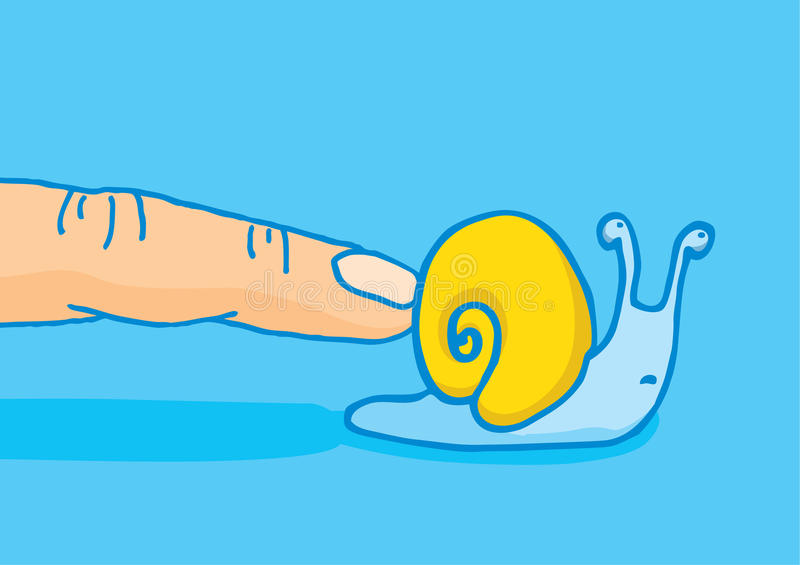 Precipitación de un caracol para sujetar su velocidad stock de ilustración