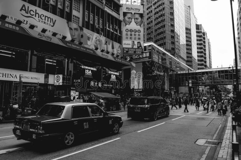 Precipitación en calles de Hong Kong foto de archivo libre de regalías