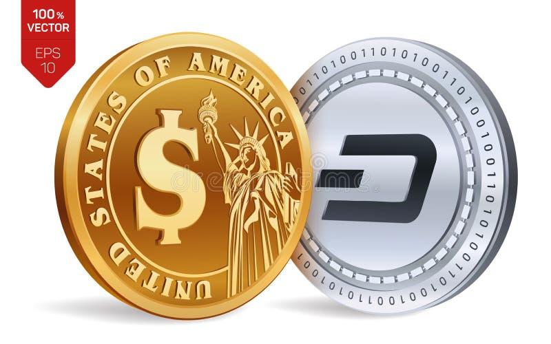 precipitare Moneta del dollaro monete fisiche isometriche 3D Valuta di Digital Cryptocurrency Monete dorate e d'argento con lo sy illustrazione di stock