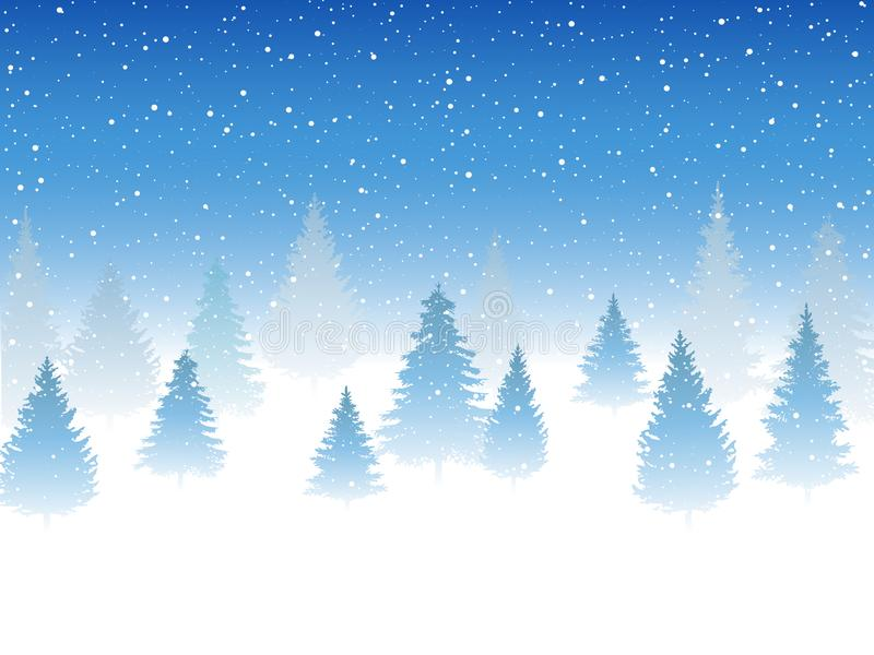 Precipitazioni nevose e poca neve con le derive e l'albero della neve Precipitazioni nevose pesanti, fiocchi di neve nelle forme  illustrazione vettoriale