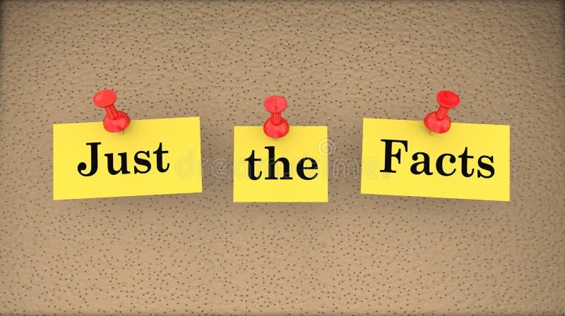 Precis anslagstavlan för grundläggande information om fakta stock illustrationer