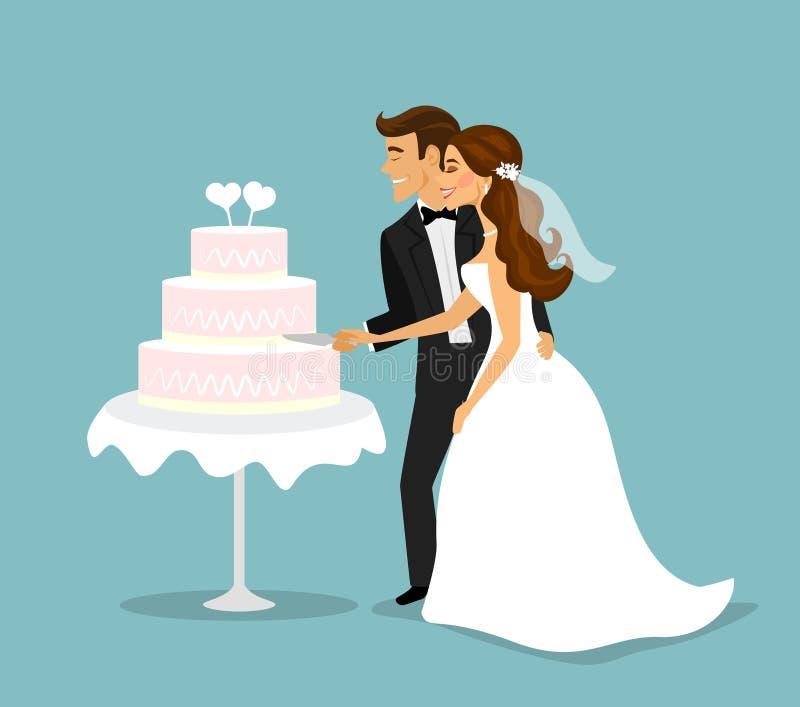 Precis bitande bröllopstårta för gift par vektor illustrationer