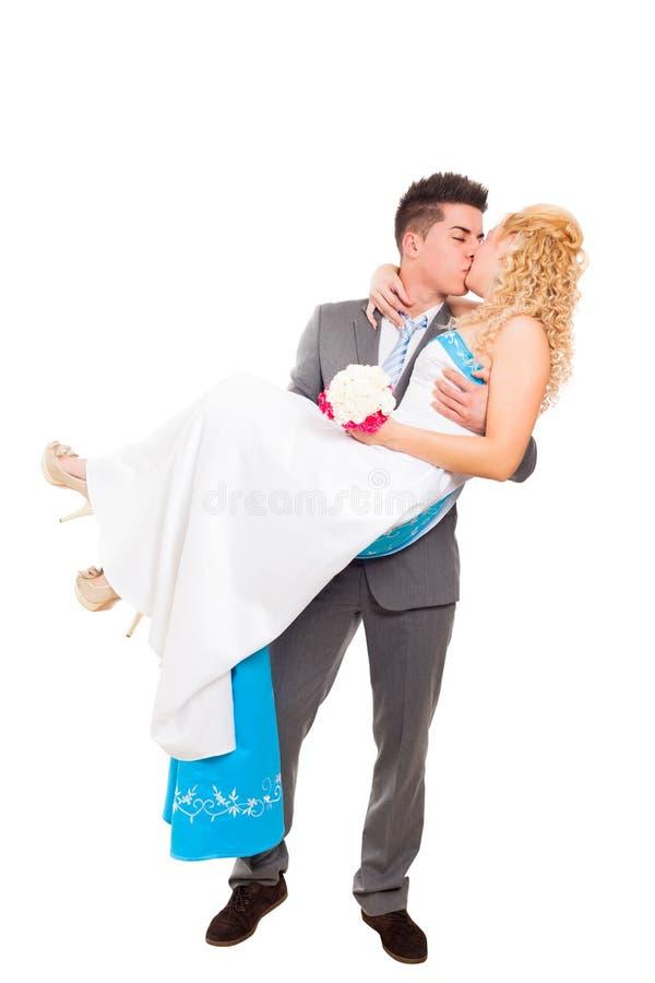Precis gift bröllop kopplar ihop arkivfoto