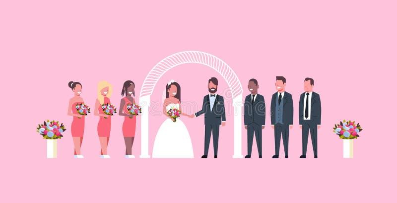 Precis gift brud och brudgum med brudtärnagroomsmen som tillsammans står nära rosa färger för begrepp för gifta sig ceremon vektor illustrationer