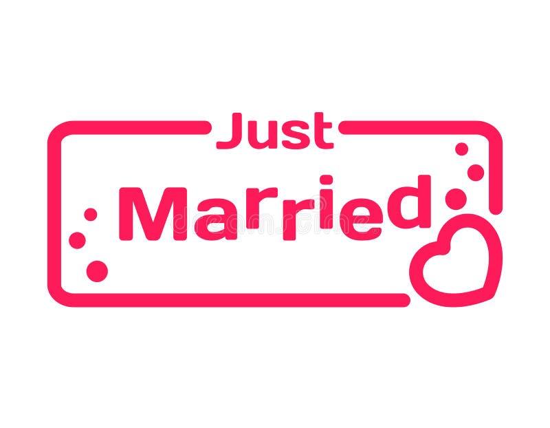 Precis gift emblem med hjärtasymbolen på vit bakgrund Brölloptema i dialogbubbla Romantisk citationsteckenstämpel vektor vektor illustrationer