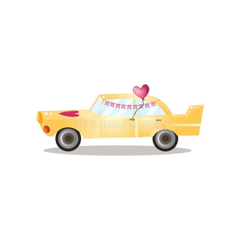Precis gift gul retro bil med bandflaggan royaltyfri illustrationer