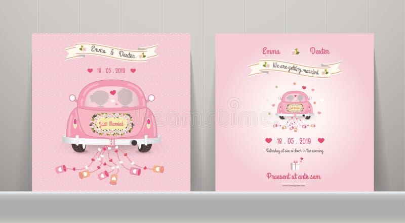 Precis gift kort för bilbröllopinbjudan vektor illustrationer