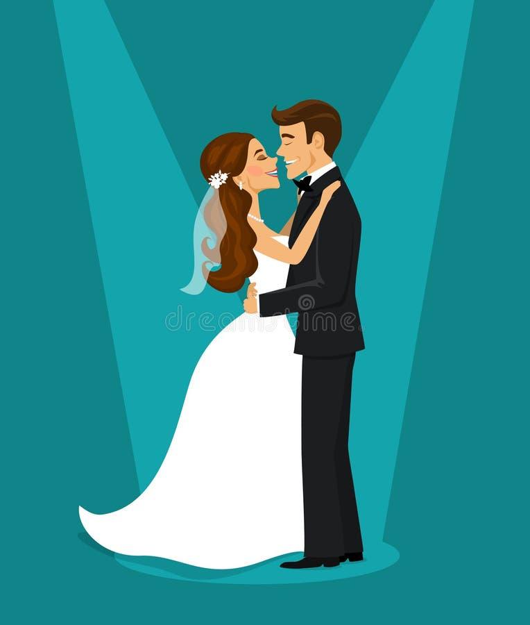 Precis gift lyckligt krama för för parbrud och brudgum stock illustrationer