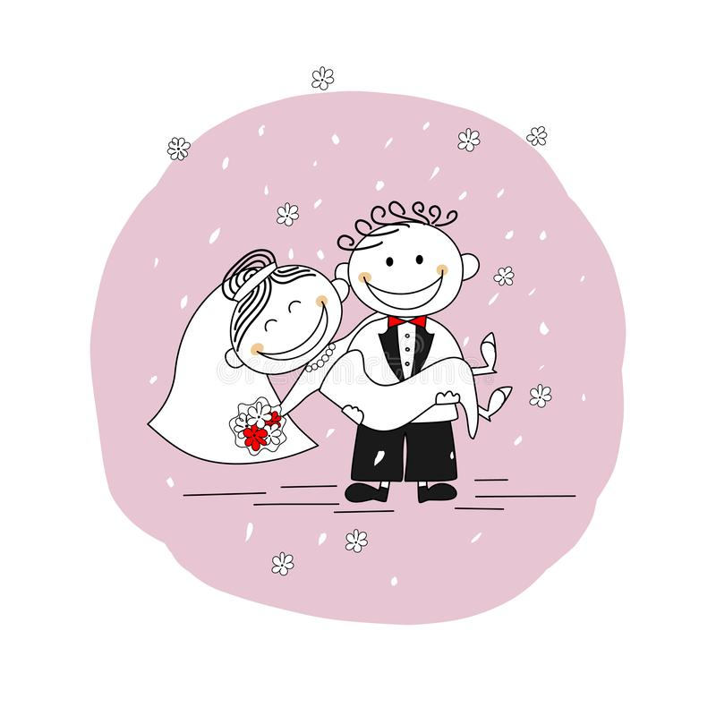 Precis gift par - bärande brud för brudgum i hans armar vektor illustrationer