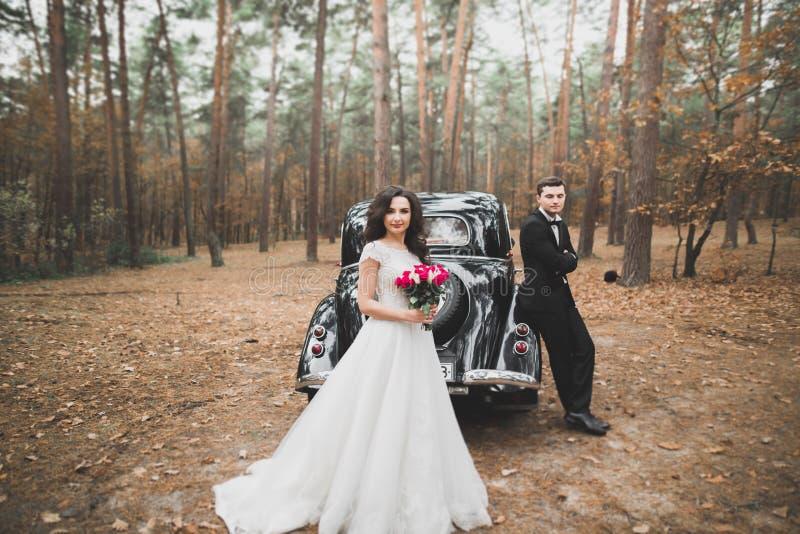 Precis gift par i den lyxiga retro bilen på deras bröllopdag royaltyfri bild