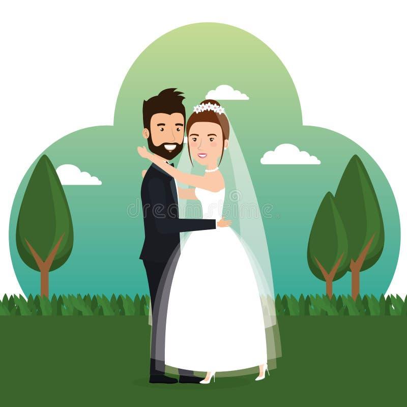 Precis gift par i fältet vektor illustrationer