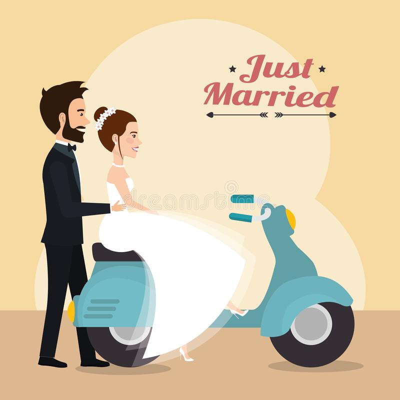 Precis gift par i motorcykelavatarstecken vektor illustrationer