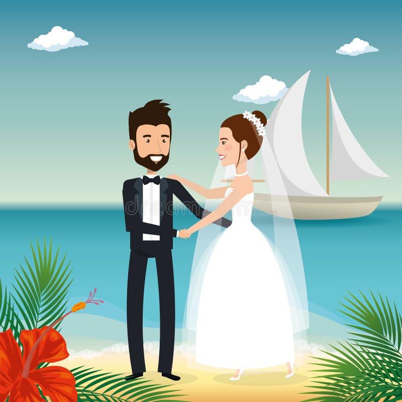 Precis gift par i stranden stock illustrationer