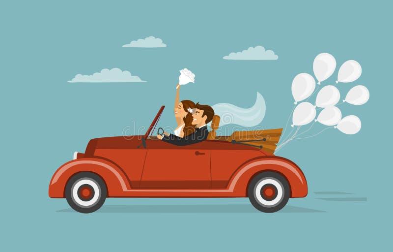 Precis gift par, nygift person, brud och brudgum på en roadtrip i retro bil för tappning royaltyfri illustrationer