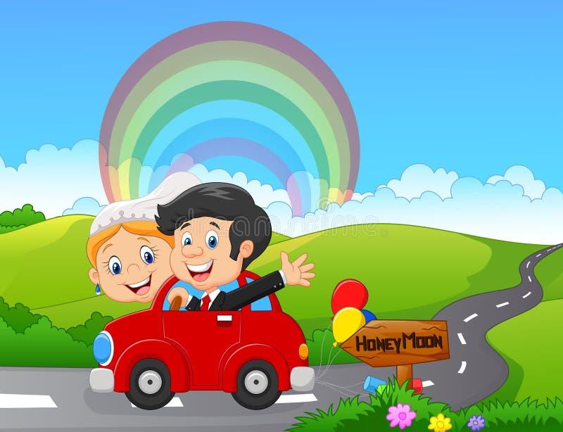 Precis gift par som kör en bil i bröllopsresatur stock illustrationer