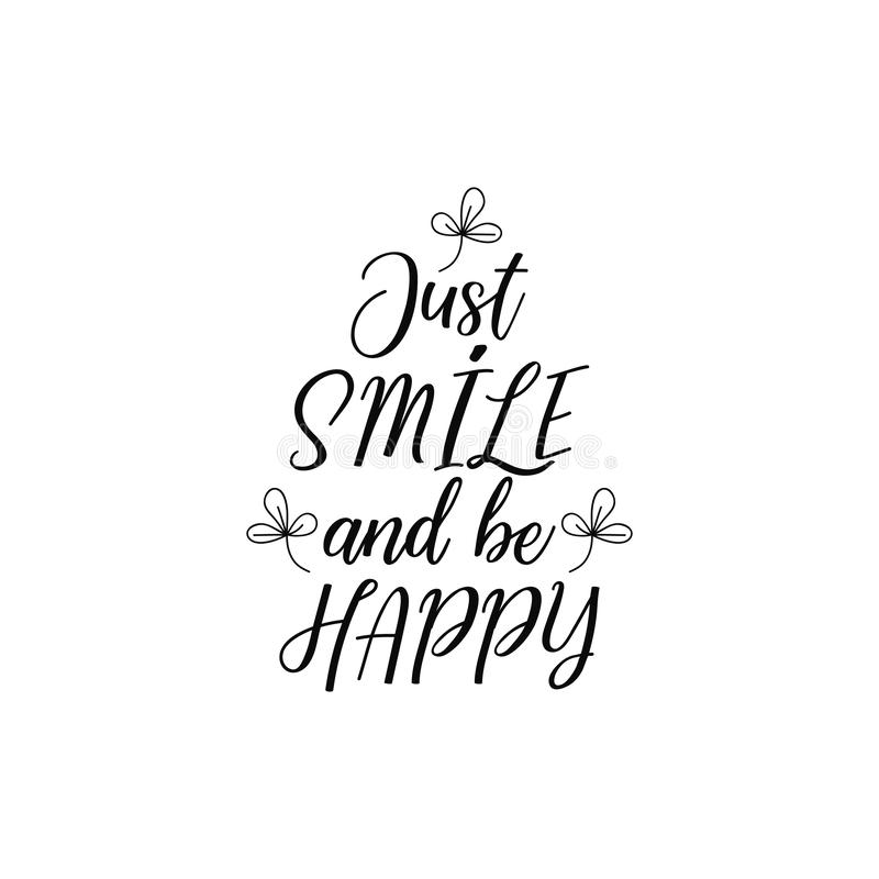 Precis leendet och är lyckligt bokstäver Kalligrafivektorillustration vektor illustrationer