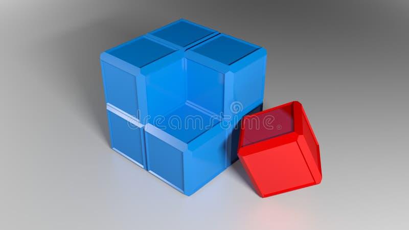 Precis måste den sista lilla röda delen av en blå kub sättas i dess position - illustration för tolkning 3D royaltyfri illustrationer