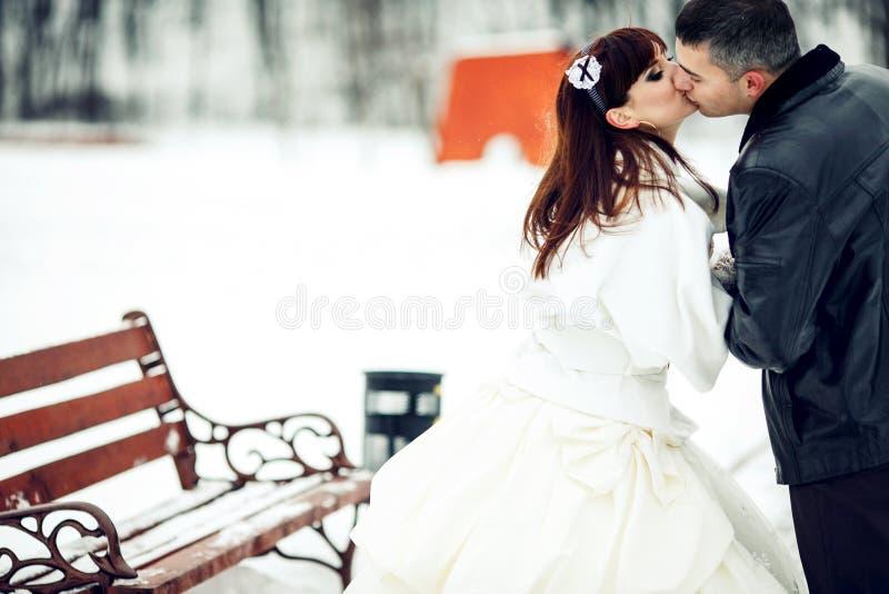 Precis parkerar den gifta kyssen, medan gå runt om en vinter fotografering för bildbyråer