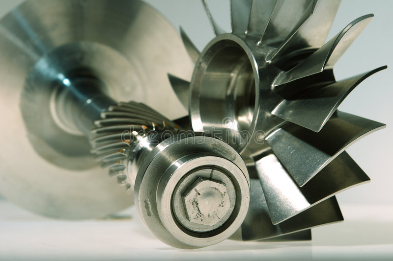 Precision engineered turbine. Made from stainless steel royalty free stock photo