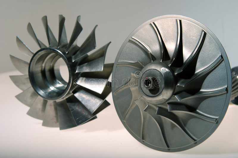 Precision engineered turbine. Made from stainless steel royalty free stock photography