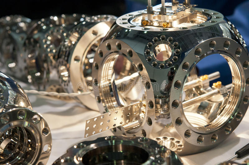 Precision scientific instrument. A view of stainless steel high tech, precision scientific equipment royalty free stock image