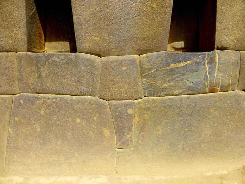 Precision stone blocks laid by Incas royalty free stock images
