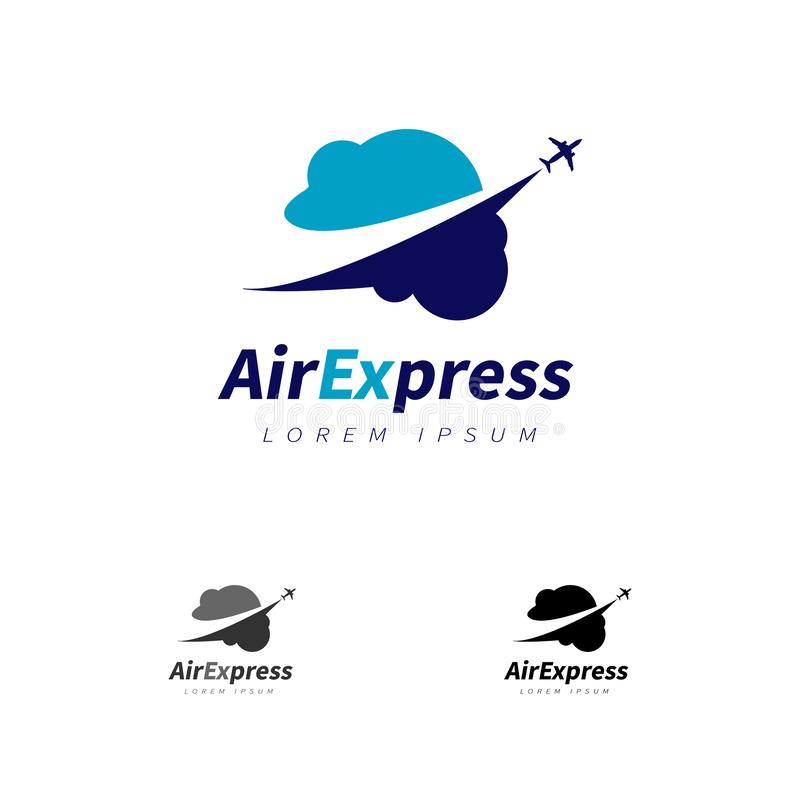 Preciso di aria con l'aereo che sorvola le nuvole Logo Sign Symbol Icon illustrazione di stock