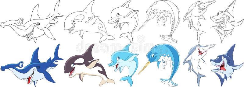 Predadores do oceano dos desenhos animados ajustados ilustração royalty free