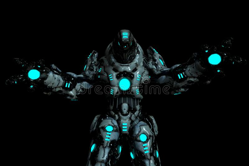 Predator black and blue glowing robot in a dark background with wide arms open royalty free illustration