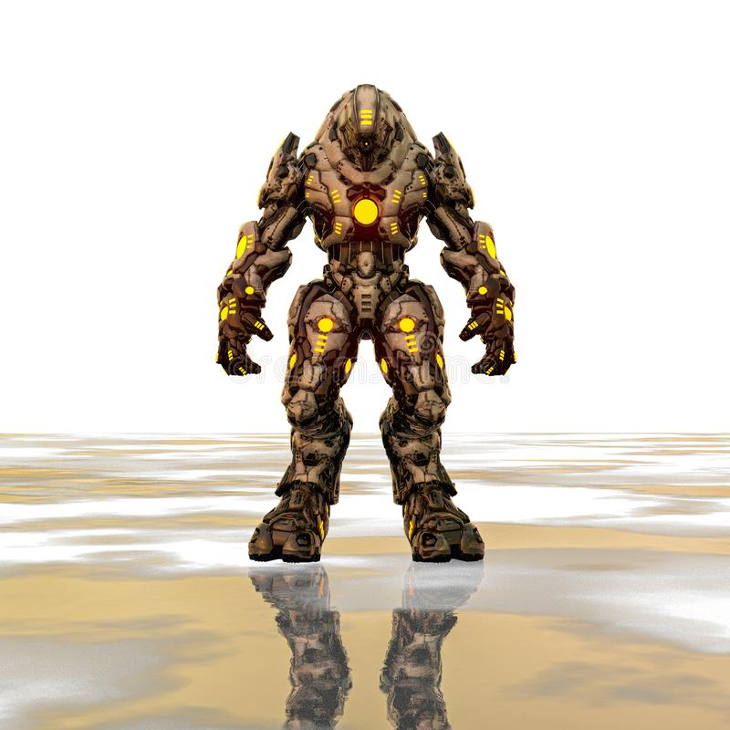 Predator from desert and yellow glowing robot in a white background vector illustration