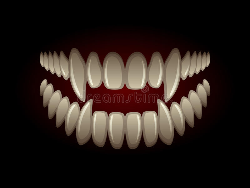 Predator jaw. With long fangs on a black background vector illustration