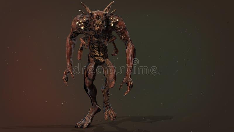 Predator mutant 3d render. Nuclear post-apocalypse predator mutant soldier 3d render royalty free illustration