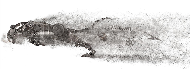 Predatore di Steampunk Vecchia automobile automatica dei pezzi di ricambio immagini stock libere da diritti