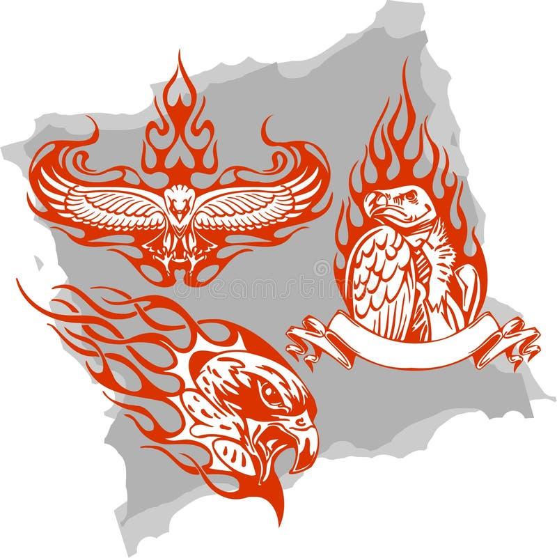 Download Predatory Birds And Flames - Set 3. Stock Illustration - Image: 13227982